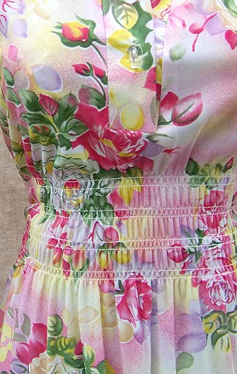 vintage 60s 70s Cracker Barrel smocked floral dress