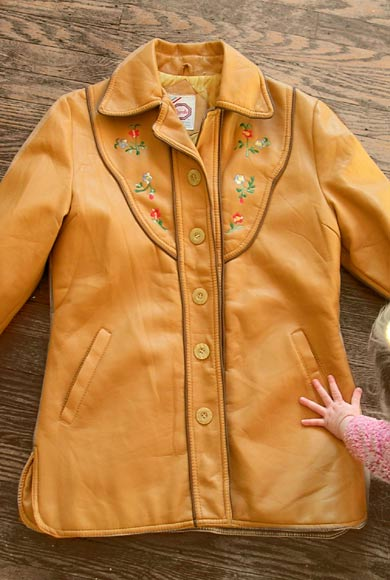 vintage 70s embroidered tan jacket