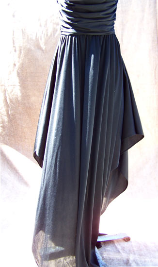 vintage 70s ruched black dress