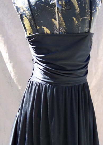 vintage 70s draped black dress