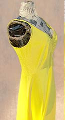 vintage 70s yellow olga nightgown