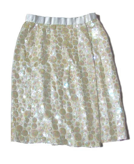vintage ivory sequin wrap skirt