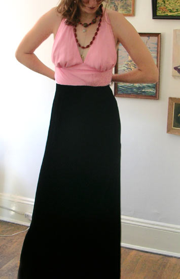 vintage 90s pink halter prom gown