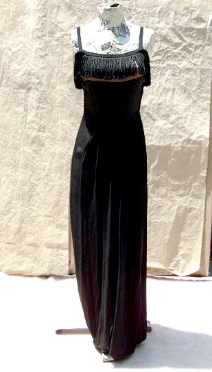 vintage 40s fringed evening gown