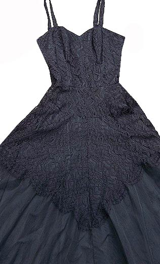 vintage 30s 40s black lace tulle gown