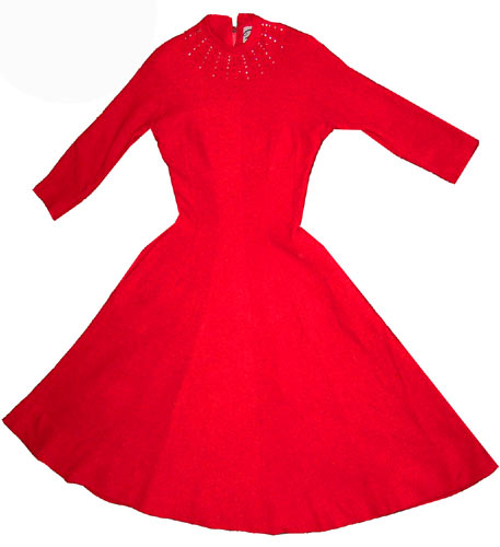 50s new look red bias cut dress