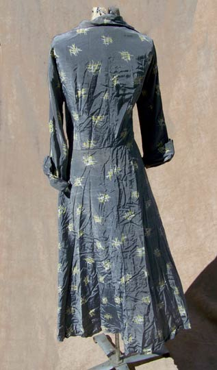 vintage 40s 50s metallic printed dress