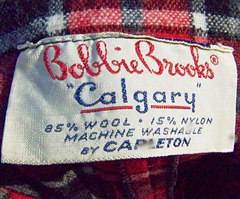 vintage 50s Bobbie Brooks 'Calgary' label