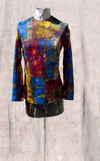 vintage 60s watercolor print top