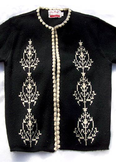 vintage 50s decorated cardigan
