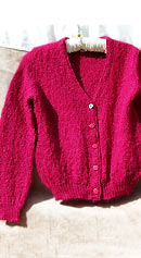 vintage 60s scarlet mohair cardigan sweater