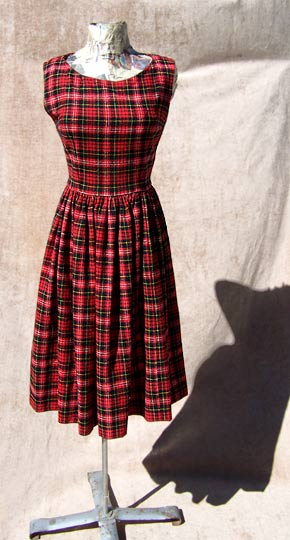 Vintage Plaid tartan dirndl, late 1950s to mid 1960s | free shipping | deadlyvintage.com :  schoolgirl dress vintage clothing