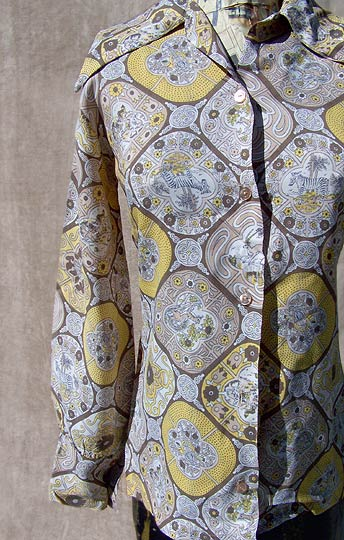 vintage 50s novelty print blouse