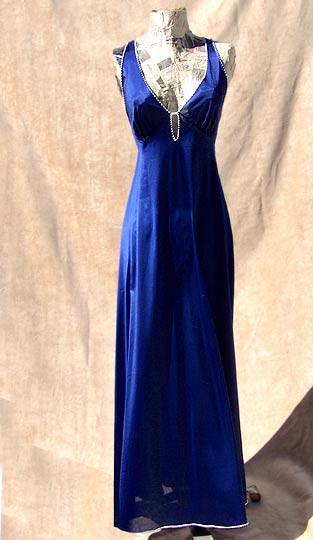 vintage 70s Vanity Fair navy nightgown