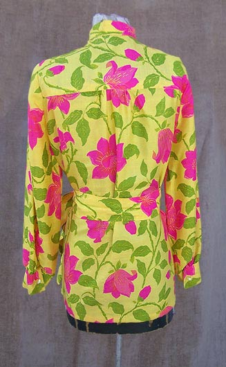 vintage big florals silk blouse