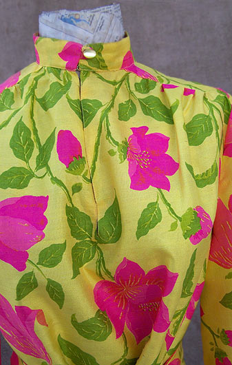vintage pink yellow silk blouse