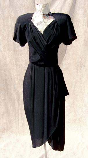 Vintage Phoebe sarong dress, mid to late 1980s | free shipping | deadlyvintage.com :  forties style dress retro evening